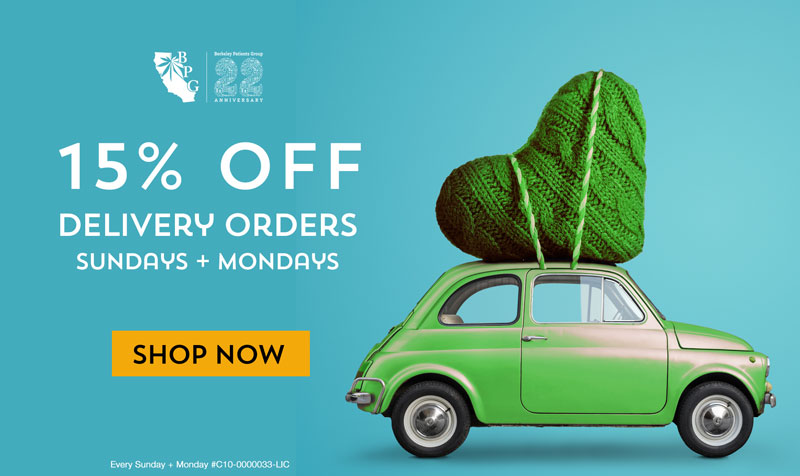 15% off cannabis delivery from BPG every Sunday and Monday in the East Bay